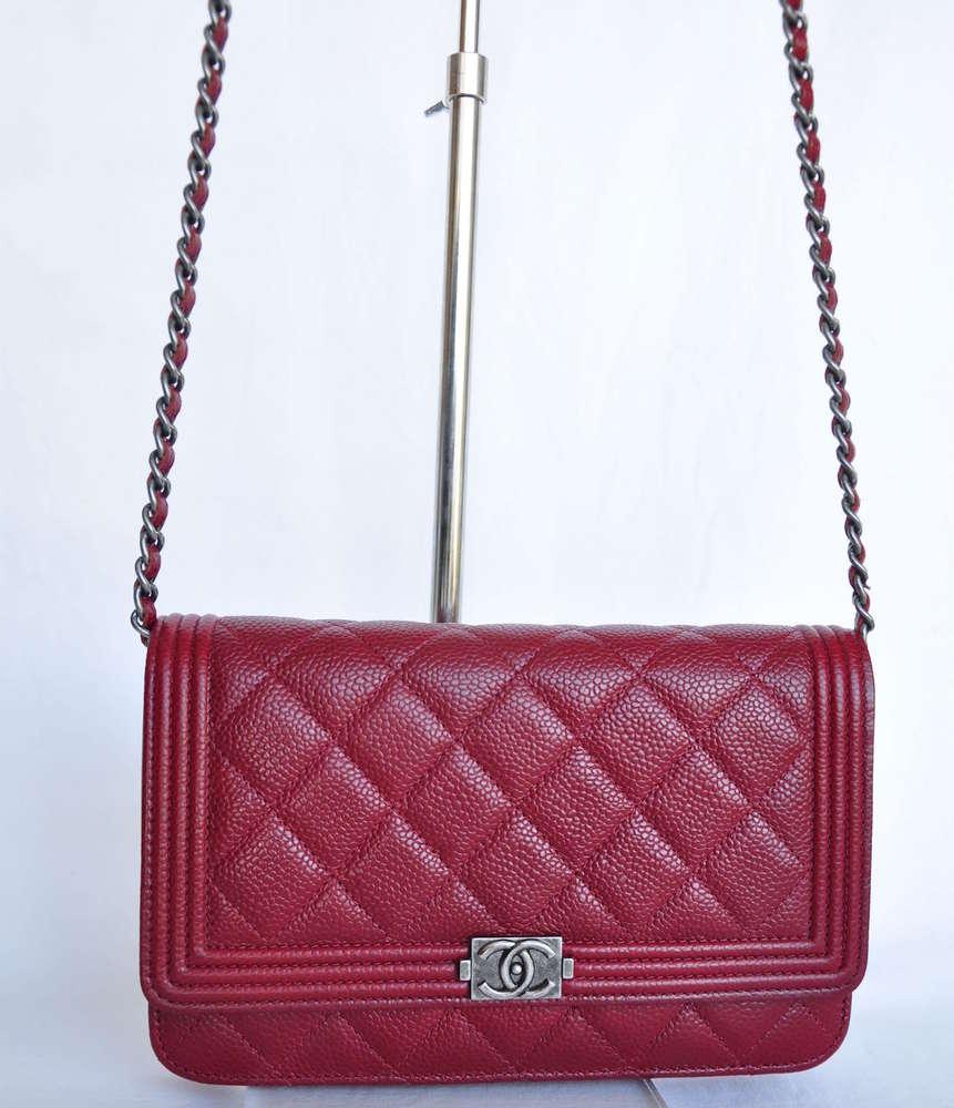 f569f91a489d Chanel Le Boy WOC wallet on chain dark red caviar - www ...