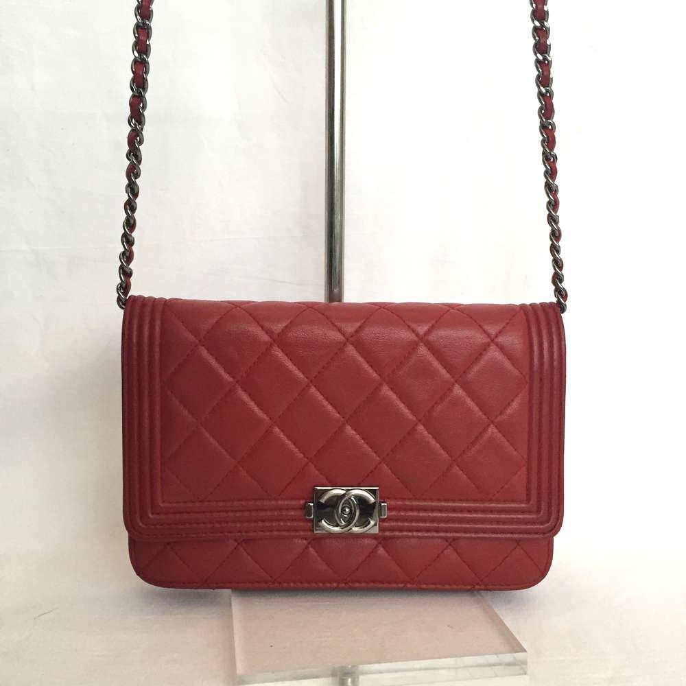 afc38227800a Chanel Le Boy WOC Wallet On Chain dark red lamskin - www ...