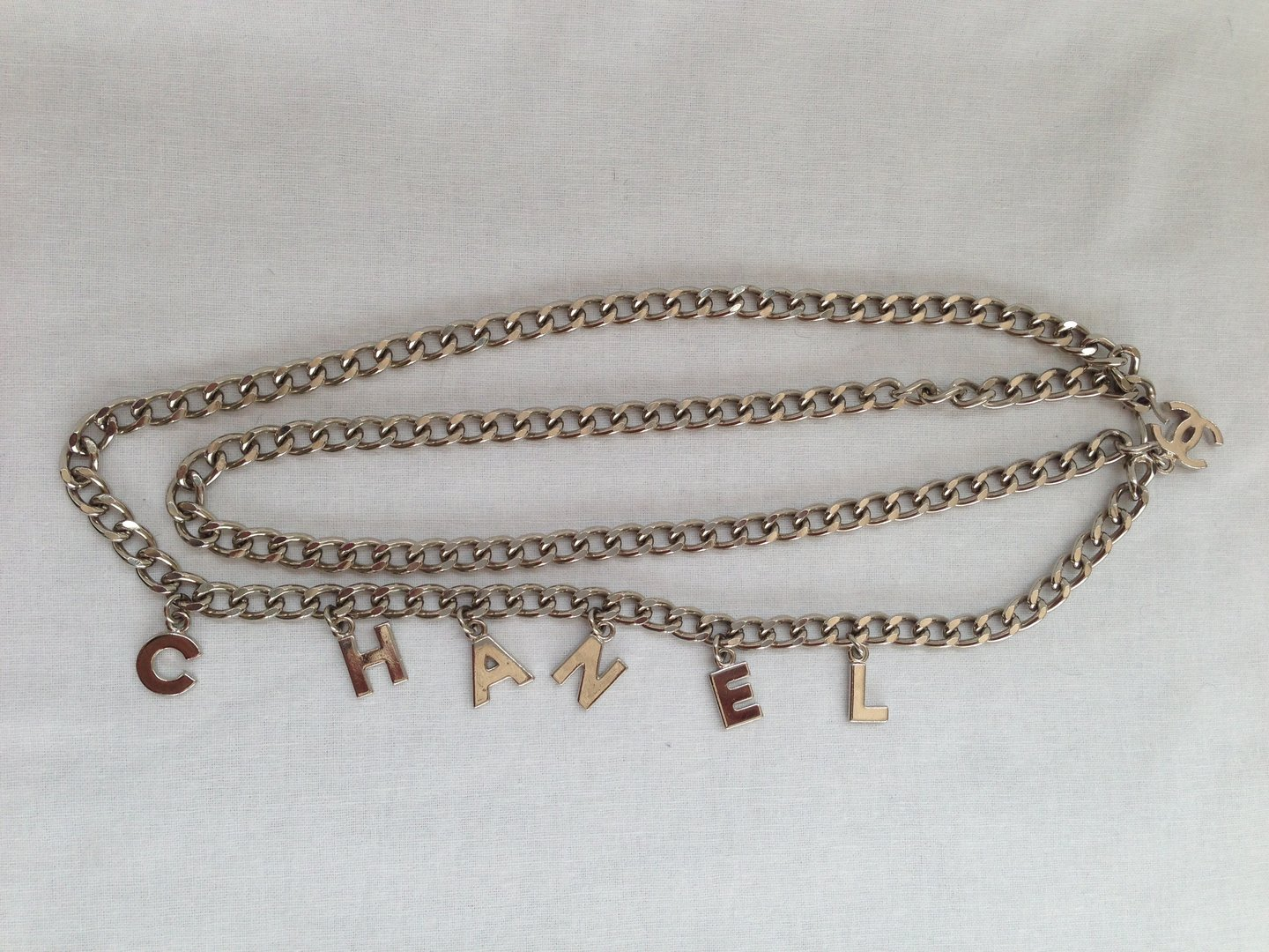 Chanel Necklace Belt Silver Letters