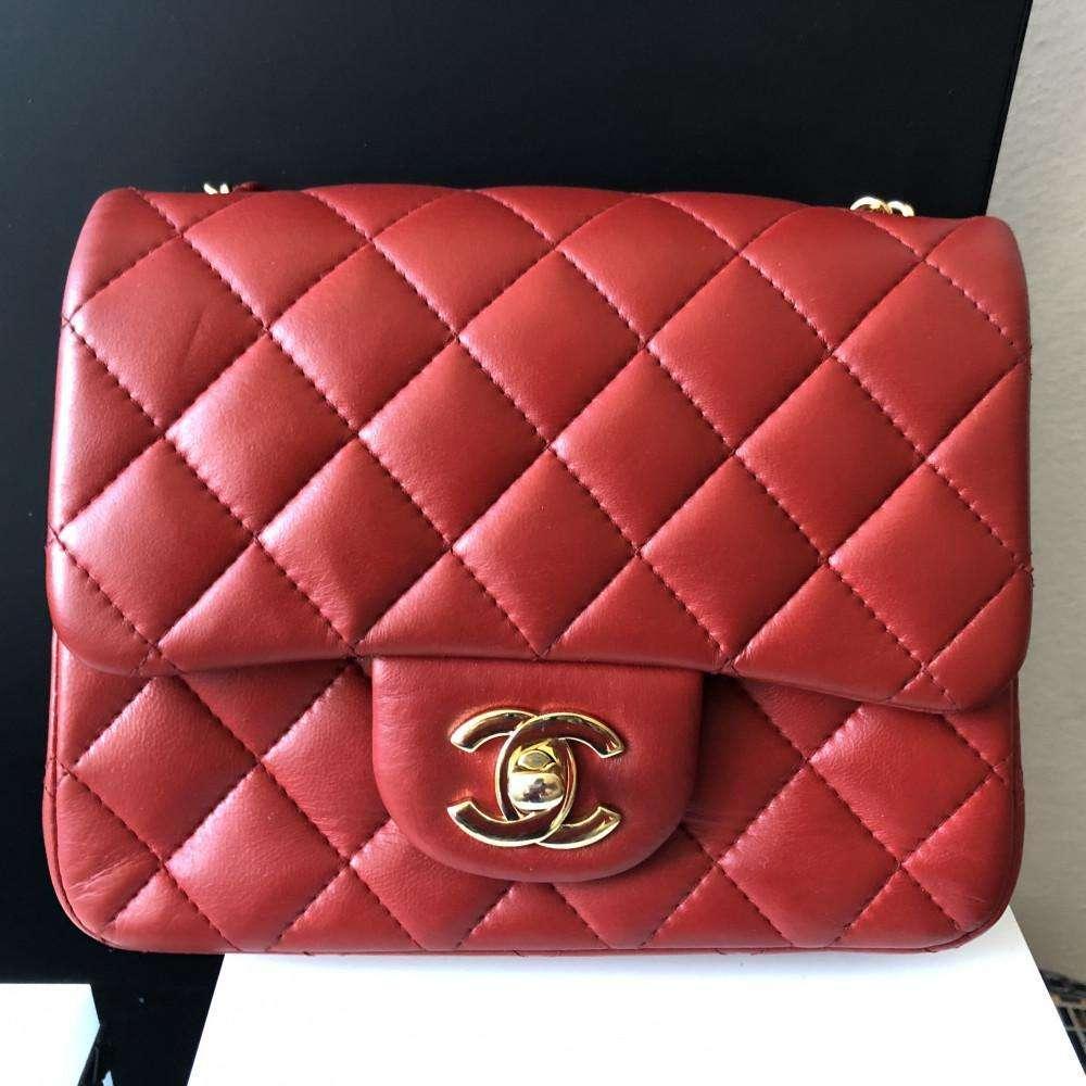 5f1e202eea9d45 Chanel mini square red lambskin - www.chanelvintage.net