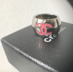 Chanel ring in steel with pink enamel inlay