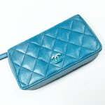 Chanel quilted zippy coin purse in iridescent blue