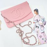 Chanel pink caviar WOC Wallet On Chain